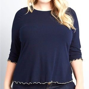 ModCloth Move With You Top Ribbed Knit 3/4 Sleeves